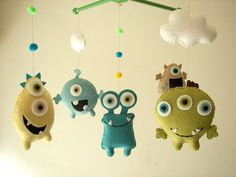 Baby crib mobile Monster mobile Alien mobile felt di Feltnjoy, $85.00