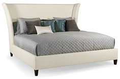 High fashion flair in your bedroom! Sienna Transitional Sienna Flare Upholstered Bed by Bernhardt - Belfort Furniture Belfort Furniture, Bedroom Furniture, King Beds, Queen Beds, Beige Headboard, Queen Headboard, Upholstered Beds, Bed Sheet Sets, Bed Design
