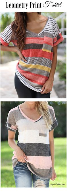Geometry print for daily wear! Wear this V neck loose women T-shirt in pink-grey and pastel colours at just $8.09. Click to shop!
