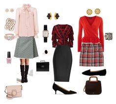A fashion look from December 2017 featuring red blouse, red top and pencil skirts. Browse and shop related looks. Red Blouses, Temperley, Roland Mouret, Miss Selfridge, Forever 21, Topshop, Chanel, Fashion Looks, London