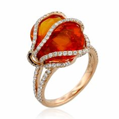 18k Rose Gold, Fire Opal and Diamond Ring