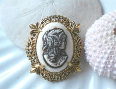 Vintage florenza cameo signed jewelry brooch by blingitongirl, $20.00
