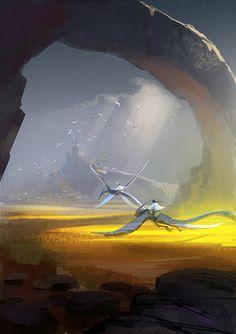 race by achillesliu on deviantART Environment Painting, Environment Concept Art, Fantasy Paintings, Fantasy Artwork, High Fantasy, Medieval Fantasy, Cgi, Bg Design, Fantasy Places