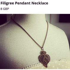 Antique gold filigree pendant necklace only available on line at www.hippychickcreations.tictail.com
