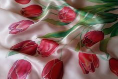 silk scarf square march 8 red tulips women's day hand by Batikrosa