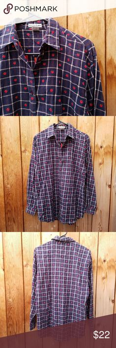 Vintage Embroidered Apple Plaid Top Adorable!  Excellent vintage condition  Feel free to ask me any additional questions! No trades, or modeling. Bundles 3+ are 15% off. Vintage Tops
