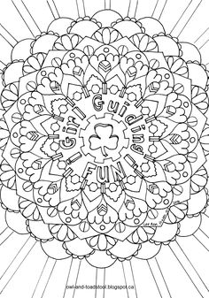 """""""Girl Guiding Fun Mandala"""" doodle by Lee Ann Fraser Owl & Toadstool 2016 Cool Coloring Pages, Disney Coloring Pages, Colouring Sheets, Brownies Girl Guides, Brownie Guides, Brownies Activities, Guide Badges, Brownie Badges, Girl Scout Activities"""