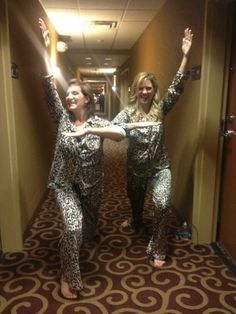 dance mom Jill and Melissa in matching jammies :)