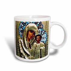 3dRose Russian Icon of the Blessed Mary, Ceramic Mug, 11-ounce
