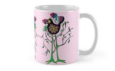 Birtree by Heaven7 #bird #tree #kids #colorful #pattern #hand #drawn #baby #children #mug