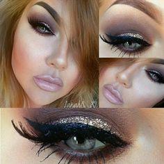 smokey eye DEETS....Etude palette @sauceboxcosmetics Candy coin glitter @eyekandycosmetics @eldorafalseeyelashes Dipbrow pomade @anastasiabeverlyhills Lips #essence lip gloss in nude candy lipliner from prestige in silk! @motivescosmetics California girl bronzer #eotd #motd #vegas_nay #anastasiabeverlyhills #motivescosmetics #saucebox #eyekandy #eldorafalseeyelashes