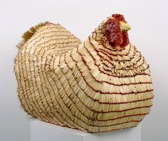 chicken made of matches! art by willie cole.