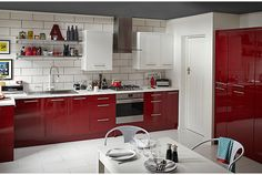 Cooke Lewis Raffello High Gloss Red Slab Diy At B Q Kitchen Cost