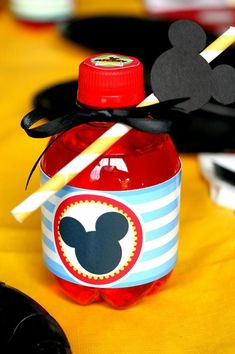 Cute way to dress up drinks at a Mickey Mouse Clubhouse Party via Kara's Party Ideas Kara'sPartyIdeas.com #MickeyMouse #MinnieMouse #PartyIdeas #Supplies #drinks #straws #party