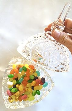 Glass Candy Dish with Bundled with 1 Pack of Gourmet Jelly Bellys Candy in a Sealed Coral Gift Bag * This is an Amazon Affiliate link. See this great product.