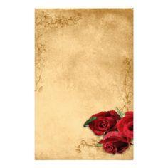 Vintage Caramel Brown & Rose Customized Stationery
