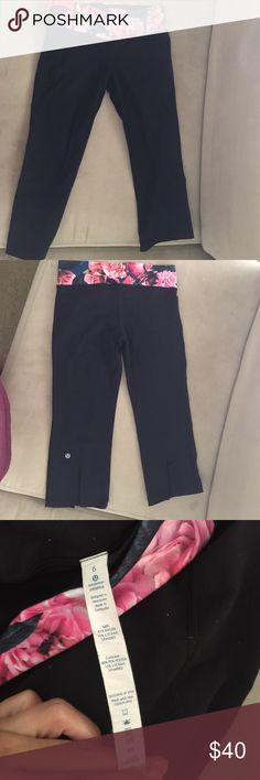 Floral lululemon crops Gentle used. No piling. Great condition. Crops that flare at the bottom lululemon athletica Pants Track Pants & Joggers