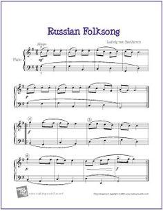 Russian Folksong (Beethoven) | Free Sheet Music for Piano - http://makingmusicfun.net/htm/f_printit_free_printable_sheet_music/russian-folksong-piano.htm