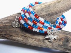 Red White & Blue 4 Strand Memory Wire Wrap by TreasuredSweets