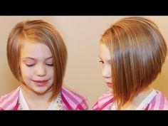 ▶ HOW TO CUT AN ASYMMETRICAL A-LINE // girls hair tutorial - YouTube Kids Hairstyle, Bob Hairstyle, Hairstyle Ideas, Short Hairstyles, Weave Hairstyles, Hairstyles 2016, Natural Hairstyles, Aline Haircuts, Bob Haircuts