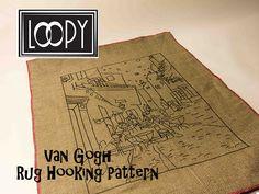 Rug Hooking Pattern, Van Gogh's Cafe, Linen Rug Hooking Pattern, by LoopyWoolSupply on Etsy Rug Hooking Kits, Rug Hooking Patterns, Van Gogh, Rugs, Learning, Etsy, Types Of Rugs, Rug