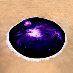 "Purple Nebula Round Beach Towel by Johari Smith.  The beach towel is 60"" in diameter and made from 100% polyester fabric."
