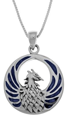 Jewelry Trends Sterling Silver Phoenix Fire Bird Pendant with Blue Paua Shell on 18 Inch Chain Necklace * Be sure to check out this awesome product. (This is an affiliate link and I receive a commission for the sales)