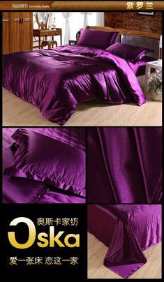 I found some amazing stuff, open it to learn more! Don't wait:https://m.dhgate.com/product/dark-deep-purple-mulberry-silk-satin-bedding/170639446.html