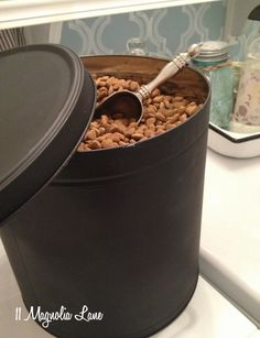 Chalkboard Paint Pet Food Canister from Repurposed Popcorn Tin