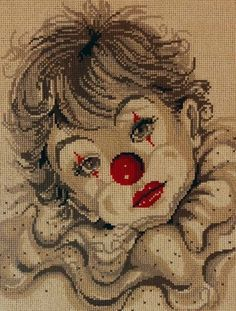 Solo Patrones Punto Cruz Boy with clown face 1 Just Cross Stitch, Cross Stitch Baby, Counted Cross Stitch Patterns, Cross Stitch Charts, Cross Stitch Designs, Cross Stitch Embroidery, Embroidery Patterns, Clown Paintings, Pierrot Clown