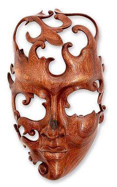 "Something quite interesting...Wood Mask ""Lover"" by Wayan Rendah."