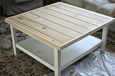 Ikea Hack hemnes coffee table with pine tongue and groove plank top - www.goldenboysandme.com