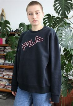 38822d9c BLACK FILA SWEATSHIRT WITH RED AND WHITE LOGO | 90s Sportswear |  Sweatshirts, Mens sweatshirts, Red
