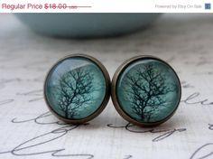 15 OFF SHOP SALE Aqua Tree Post Earrings in by WearitoutJewelz, $15.30