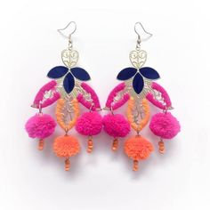 Katie Kime Moroccan Pom Pom Earrings Pink & Orange By ($68) ❤ liked on Polyvore featuring jewelry, earrings, beaded earrings, beads jewellery, beading earrings, pink oxfords and orange earrings
