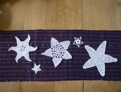 Crocheted star appliques in white cotton by soleilcrochet on Etsy, $8.00