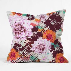 DENY Designs Aimee St. Hill Croc and Flowers Decorative Pillow - 20'' x 20''