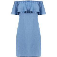 Warehouse Warehouse Off Shoulder Denim Dress Size 12 (155 RON) ❤ liked on Polyvore featuring dresses, vestidos, light wash denim, off-shoulder dresses, blue off the shoulder dress, denim dress, blue dress and warehouse dresses
