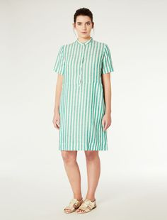 Marina Rinaldi DELAWARE white: Linen shirt dress.