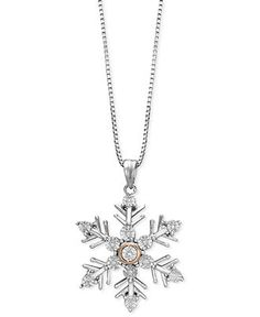Sterling Silver and 14k Rose Gold Necklace, Diamond Accent Snowflake Pendant - Necklaces - Jewelry & Watches - Macy's