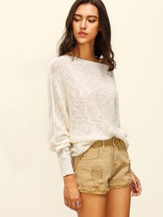 Online shopping for Beige Boat Neck Batwing Sleeve Knitted T-shirt from a great…