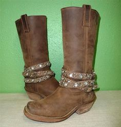 ROCKETDOG STUDDED Brown Leather Harness Mid-Calf Western Boots on Ebay @ only $29.99 used