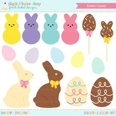 Mmm! Easter chocolate and candy! This clipart set comes with chocolate bunnies, eggs, candies and lollipops. Perfect for all your Easter