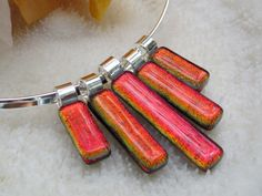 Red dichroic fused glass Statement Necklace by FoxWorksStudio