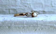Sweet Art Deco Vintage 14K Yellow Gold Diamond Three by GoldAdore, $295.00