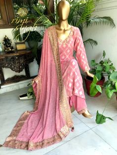 """Optimism is the faith that leads to achievement."" Rose pink muga silk banarasi kurta paired with a modal silk salwar and a pure georgette dupatta. There is gota patti embroidery on the neckline , sleeve , salwar pauncha and four sides of the dupatta. Available exclusively at Rimi Singh Studio A 999 Sushant Lok 1 Gurgaon #9818310054 Punjabi Suits, Salwar Suits, Salwar Kameez, Ethnic Outfits, Indian Outfits, I Love Fashion, Indian Fashion, Banarasi Suit, Indian Kurta"