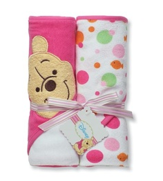$25.00-$15.00 Baby Disney Pooh 2 Pack Hooded Towel, White / Pink - Dry off little ones in Disney Winnie the Pooh style. These hooded towels keep infants warm and covered when bath time is over. http://www.amazon.com/dp/B004PB6CAW/?tag=pin2baby-20