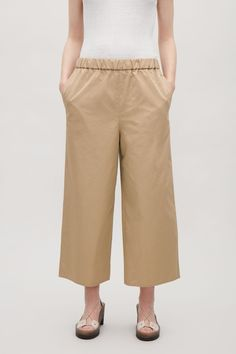 COS image 2 of Cropped cotton twill trousers in Khaki Beige