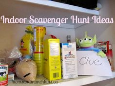 These fun indoor scavenger hunt ideas are easy to set up & fun to play. Here you'll find fun ideas for hiding locations plus some free printable games. Birthday Activities, Craft Activities For Kids, Preschool Activities, Crafts For Kids, Scavenger Hunt Party, Scavenger Hunts, Little Girl Crafts, Babysitting Activities, Lesson Plans For Toddlers