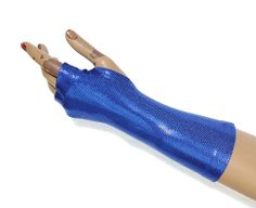 Blue stretch lycra spandex gloves Fingerless Gloves  by costumeBM, $19.99